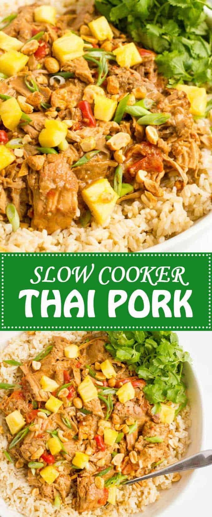 Slow cooker Thai pork is a quick and easy dinner to prep and comes out with tender chunks of pork and a rich, delicious peanut sauce! | www.familyfoodonthetable.com
