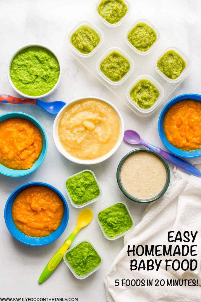 Homemade baby food - make 5 easy, beginner foods in just 20 minutes! Peas, green beans, applesauce, butternut squash and oatmeal | www.familyfoodonthetable.com