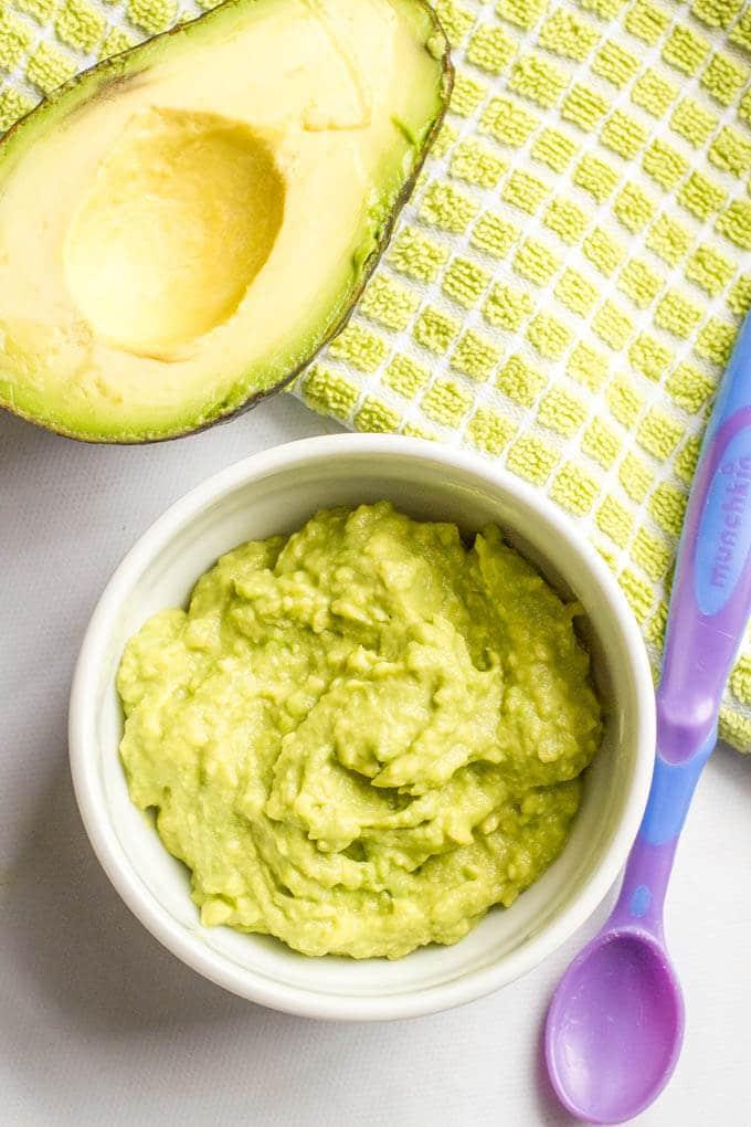 Homemade baby food avocado puree