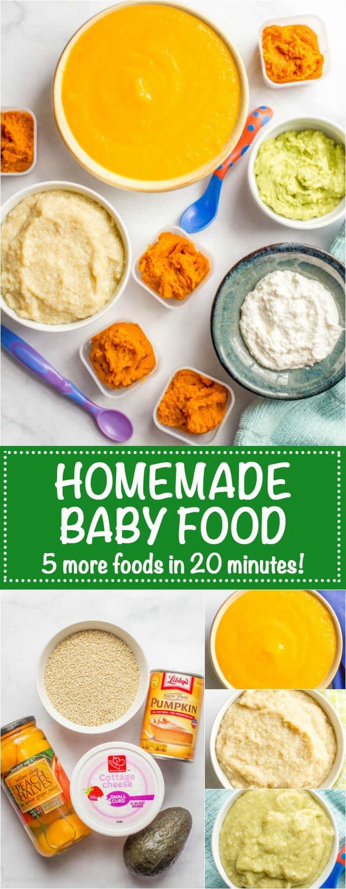 Homemade Baby Food Quinoa Peaches Avocado Pumpkin And