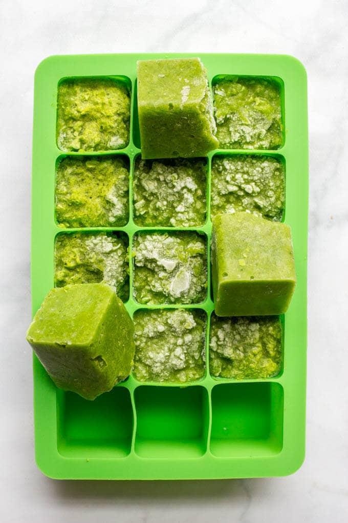 Homemade baby food - frozen peas