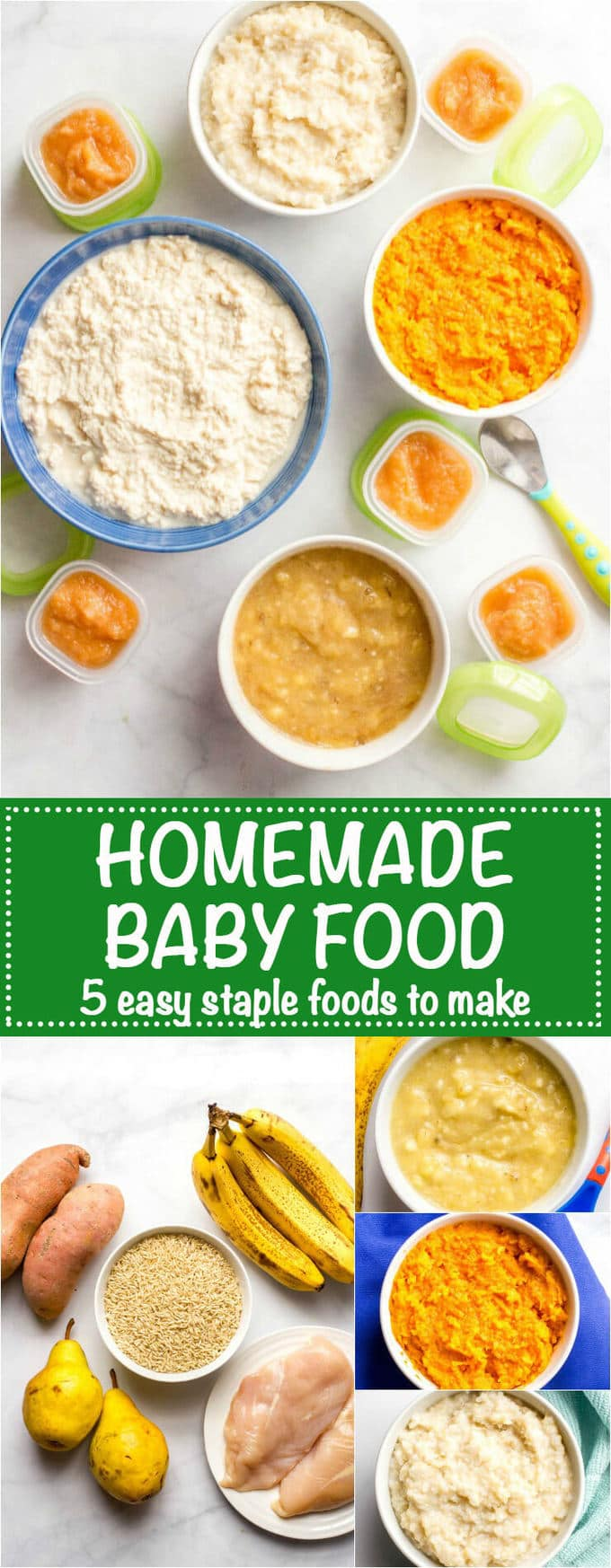 Homemade baby food -- sweet potatoes, brown rice, chicken, pears and banana ...