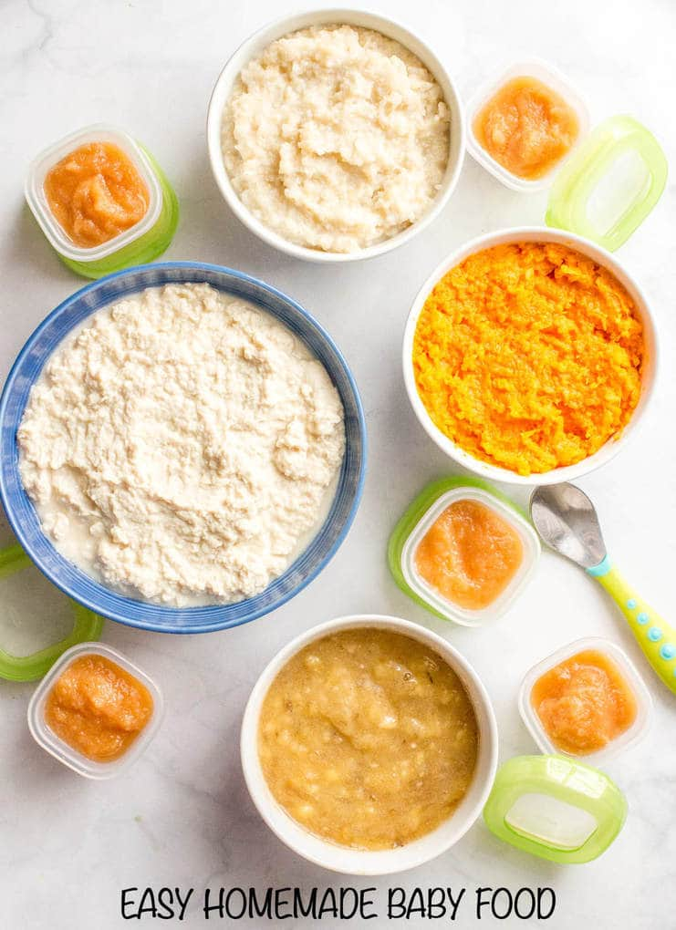 Homemade baby food -- sweet potatoes, brown rice, chicken, pears and banana are great staples to introduce for young babies and to use for combinations for older babies and toddlers!