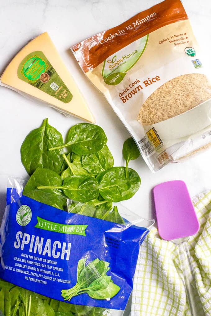 Brown rice with spinach and Parmesan