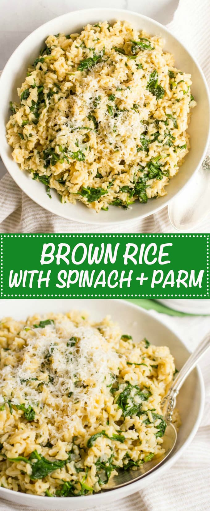 Brown rice with spinach and Parmesan cheese is an easy, healthy, one ...