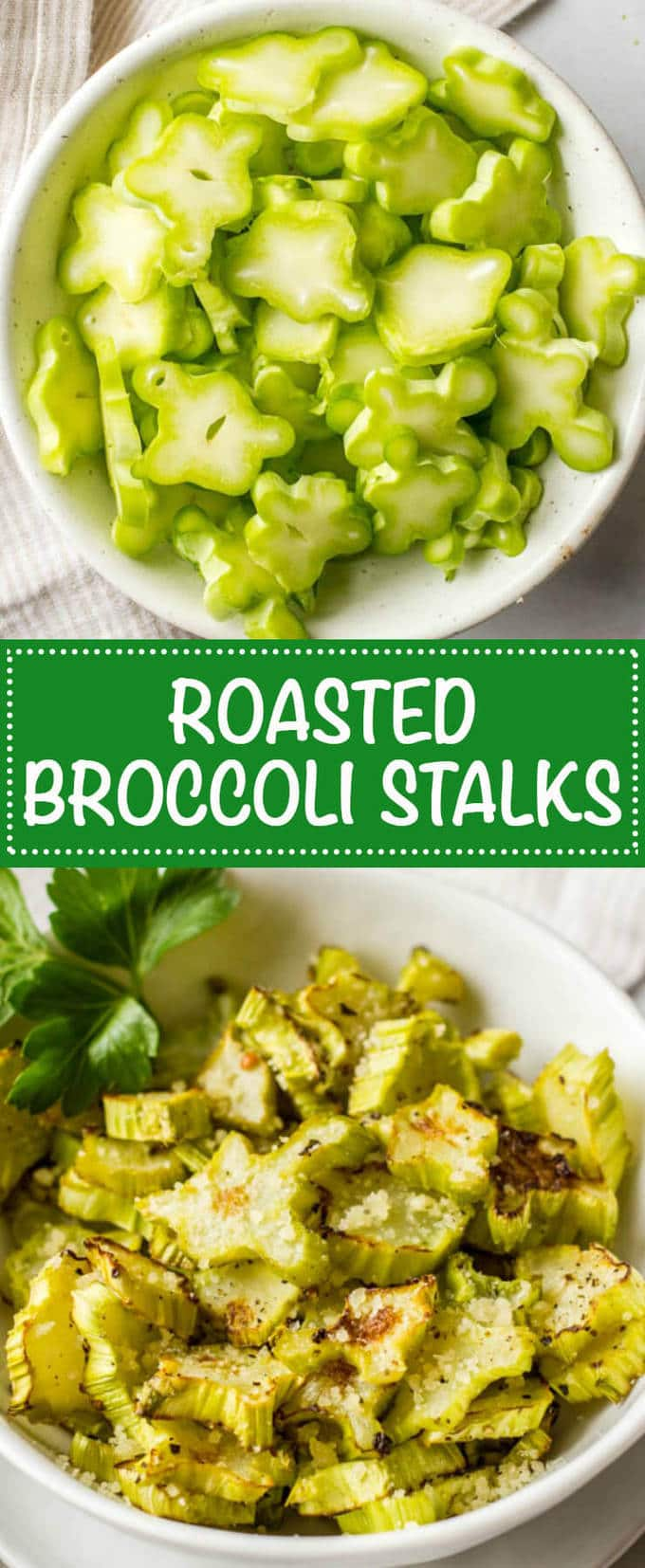 Roasted broccoli stalks — or coins — are a great + tasty way to incorporate broccoli stems and reduce food waste! | www.familyfoodonthetable.com