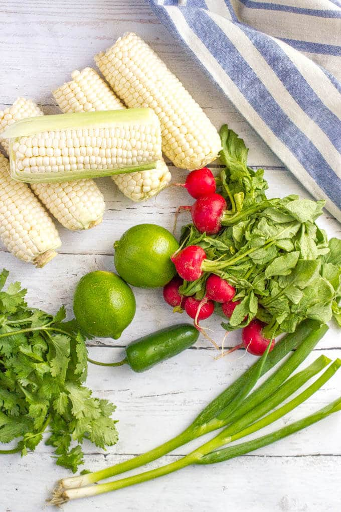 Quick + easy spicy corn radish salad with cilantro and a zesty lime vinaigrette