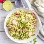 Spicy corn radish salad