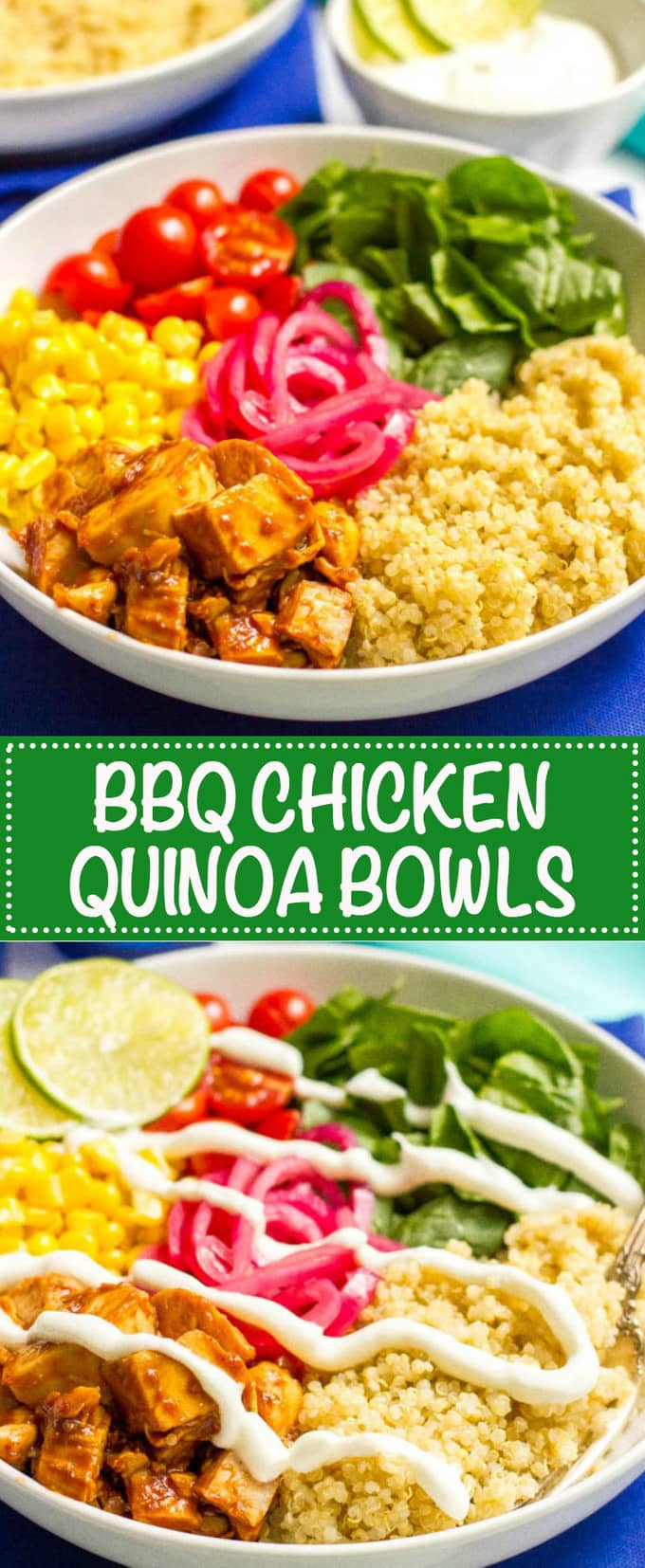 BBQ chicken quinoa salad bowls are full of flavor and fresh veggies and make for a really easy, healthy dinner! Also great as a make-ahead lunch or picnic! | www.familyfoodonthetable.com