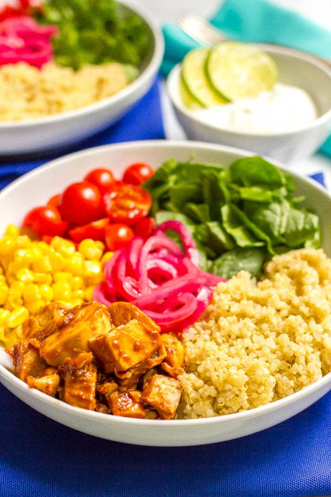 Bbq Chicken Quinoa Salad Bowls Family Food On The Table