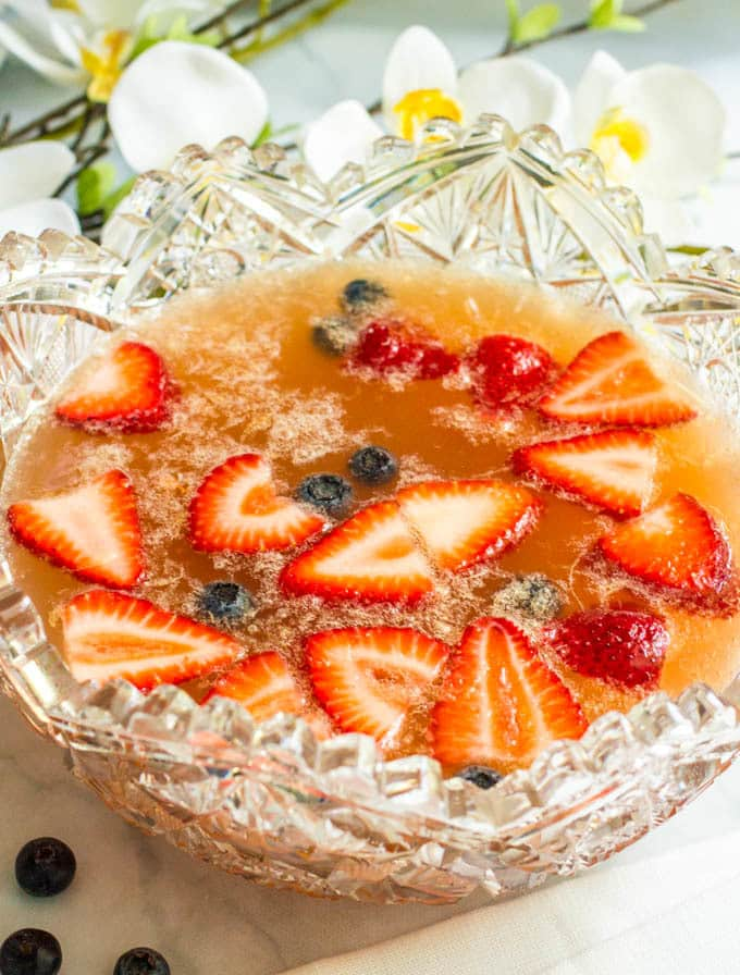 Champagne brunch punch is a fun, festive drink to serve a crowd!