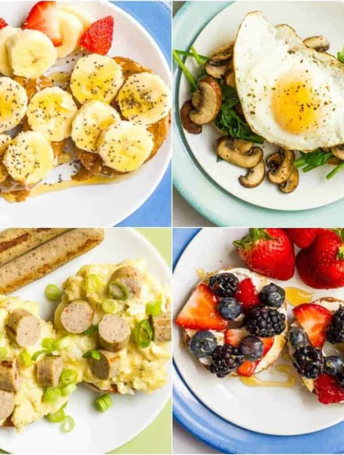 Healthy bagel toppings, 4 ways - two sweet and two savory - for a whole lot of breakfast time deliciousness! | www.familyfoodonthetable.com
