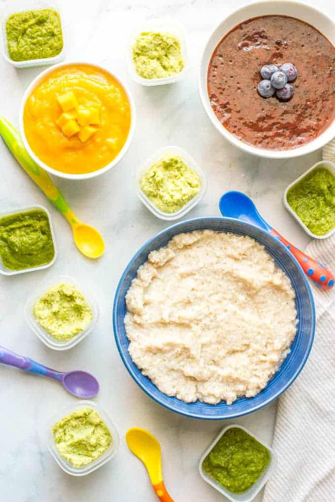 Homemade baby food barley, asparagus, edamame, blueberries and mango are 5 easy, healthy baby foods that can all be made in just 20 minutes! | www.familyfoodonthetable.com
