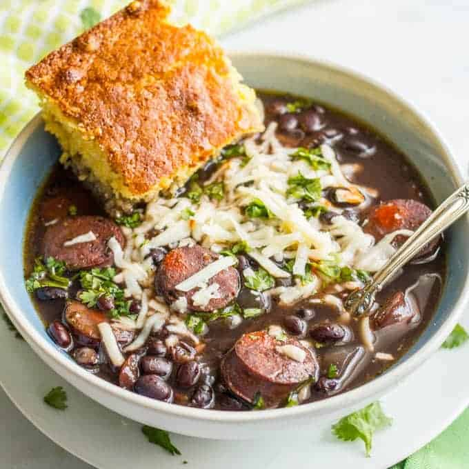 Slow cooker black bean chorizo soup is an easy-to-prep dinner with deep, rich flavors - perfect for a cozy night in! | www.familyfoodonthetable.com