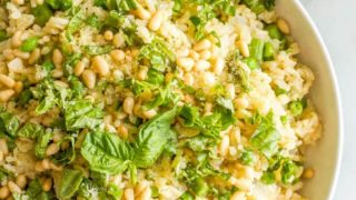 Spring rice pilaf with asparagus and peas
