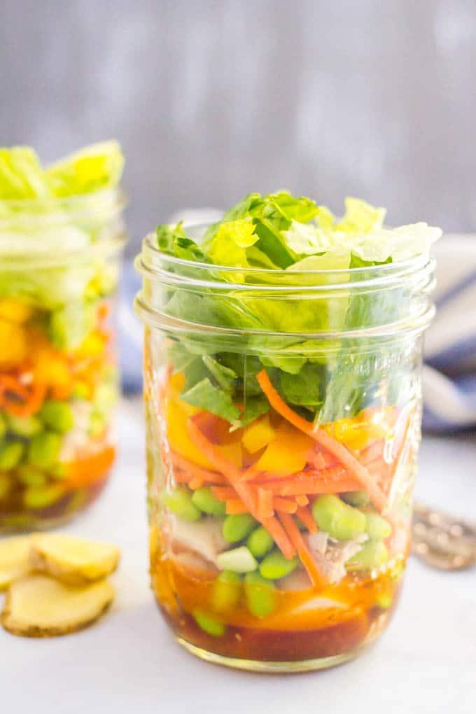 Asian chicken mason jar salad is a great, easy, healthy make-ahead lunch!