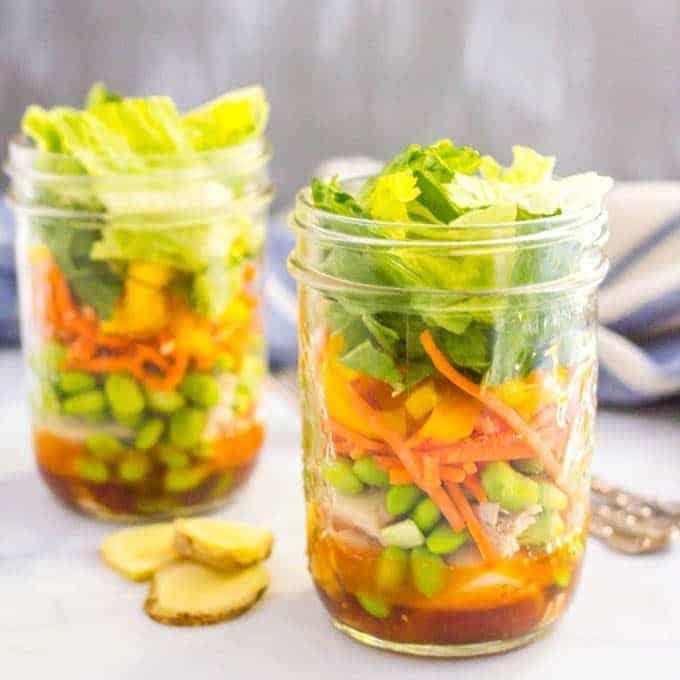 Asian chicken mason jar salad is a great make-ahead lunch!