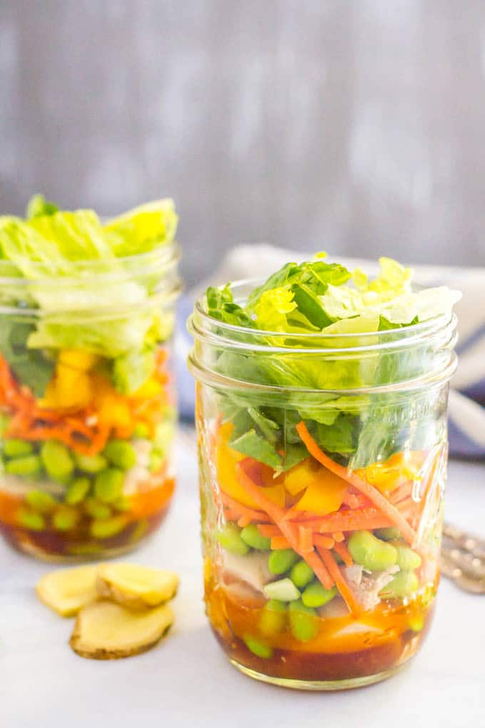 Asian chicken mason jar salad is a great, easy make-ahead lunch!