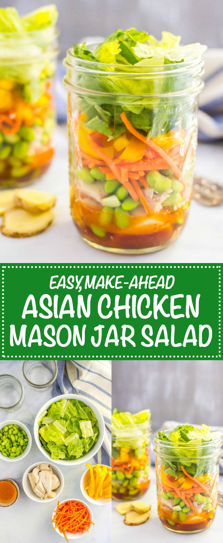 Asian chicken mason jar salad with rotisserie chicken, edamame, carrots, peppers and an easy sesame soy dressing are perfect for a make-ahead lunch! | www.familyfoodonthetable.com