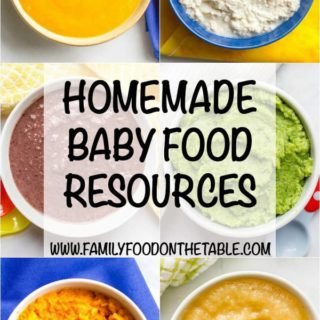 Homemade baby food resources -- tons of information to help you get ready, recipes to help you get started and some additional reading to learn more! | www.familyfoodonthetable.com