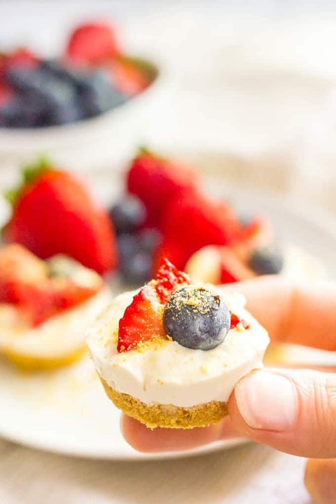Healthy no bake mini cheesecake bites ready to eat