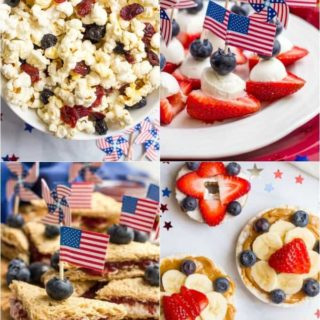 Ideas for easy, healthy red, white and blue July 4th snacks - great for kids of all ages! | www.familyfoodonthetable.com