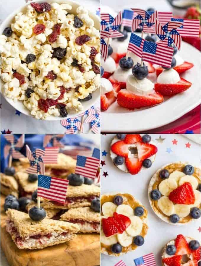 Ideas for easy, healthy red, white and blue July 4th snacks - great for kids of all ages!   www.familyfoodonthetable.com