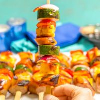 Sausage pineapple kabobs with BBQ sauce