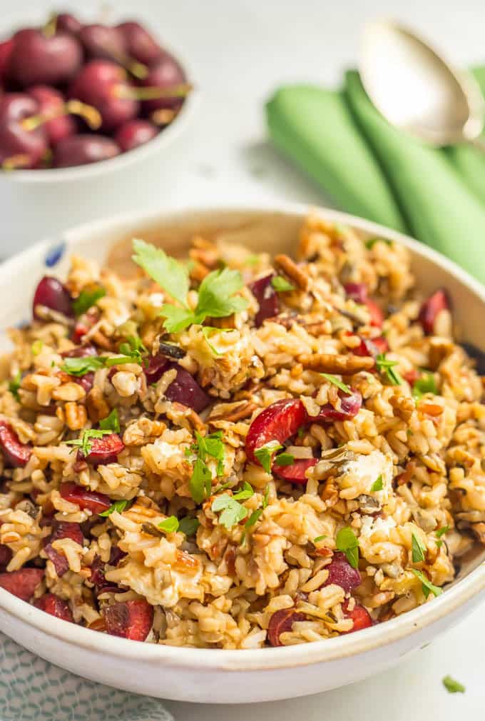 Wild rice salad with fresh cherries, pecans and goat cheese is a perfect, easy summer side dish! | www.familyfoodonthetable.com