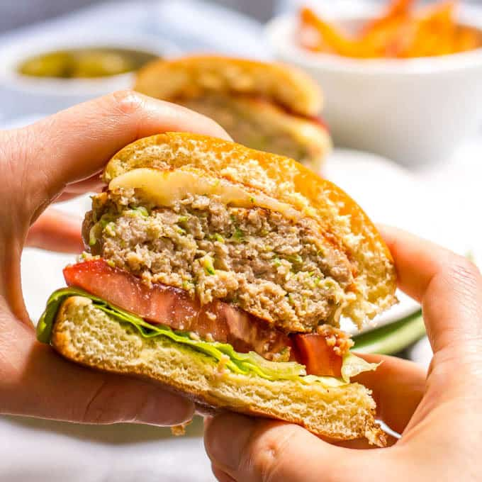 Zucchini turkey burgers ready to eat