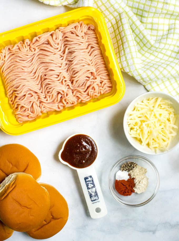 Ingredients laid out for BBQ chicken burgers