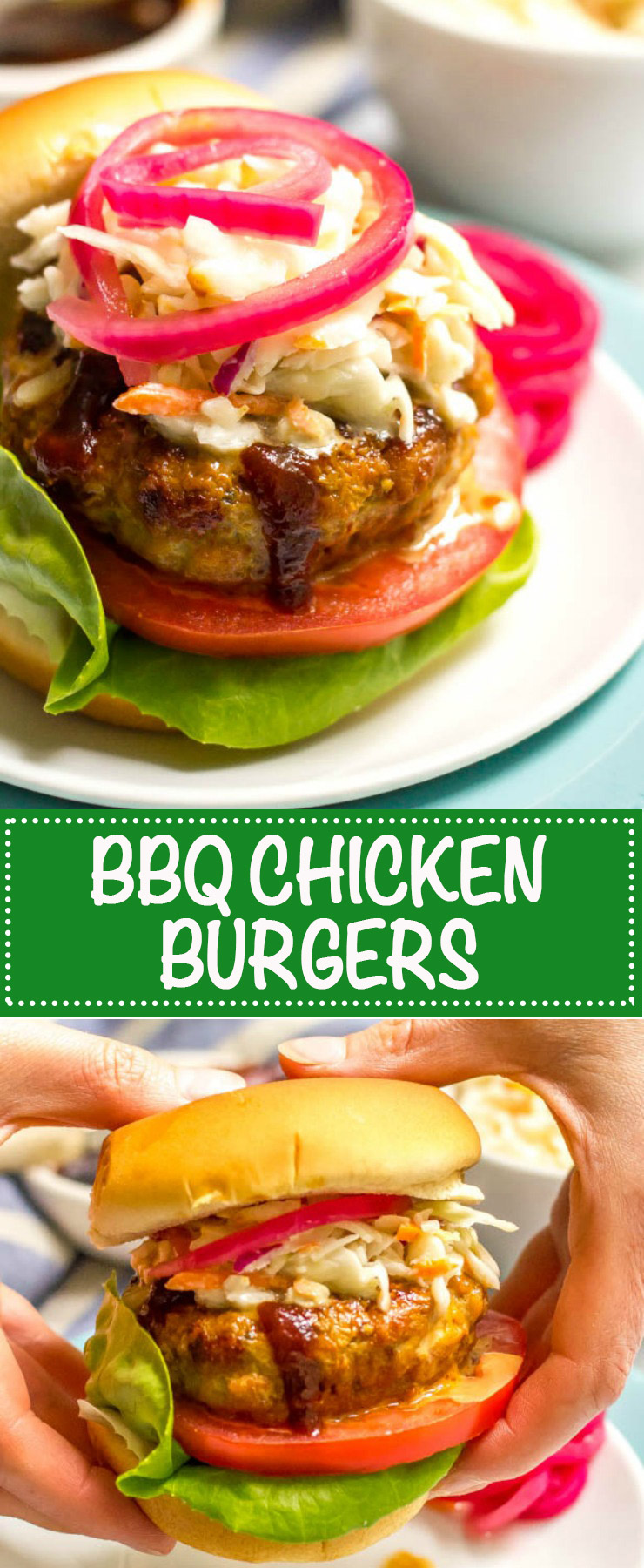 These BBQ chicken burgers require just a few basic ingredients and come out so juicy and flavorful! Add coleslaw and potato salad for a delicious dinner! | www.familyfoodonthetable.com