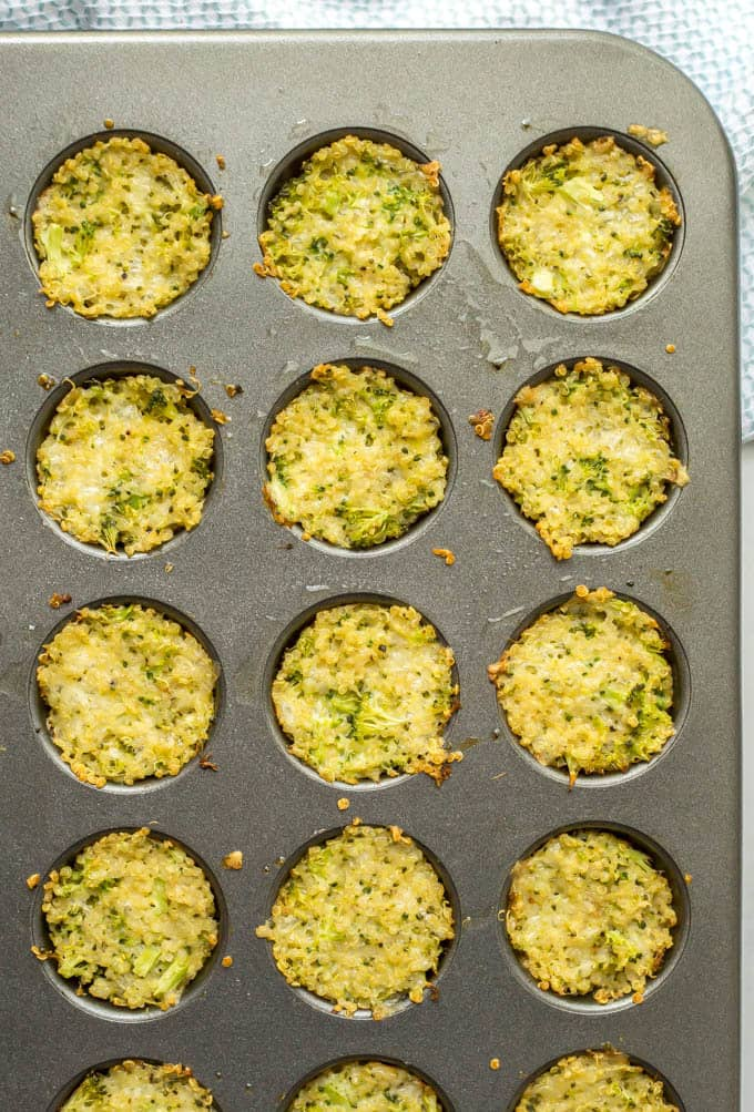 Broccoli cheese quinoa bites baked in muffin tin