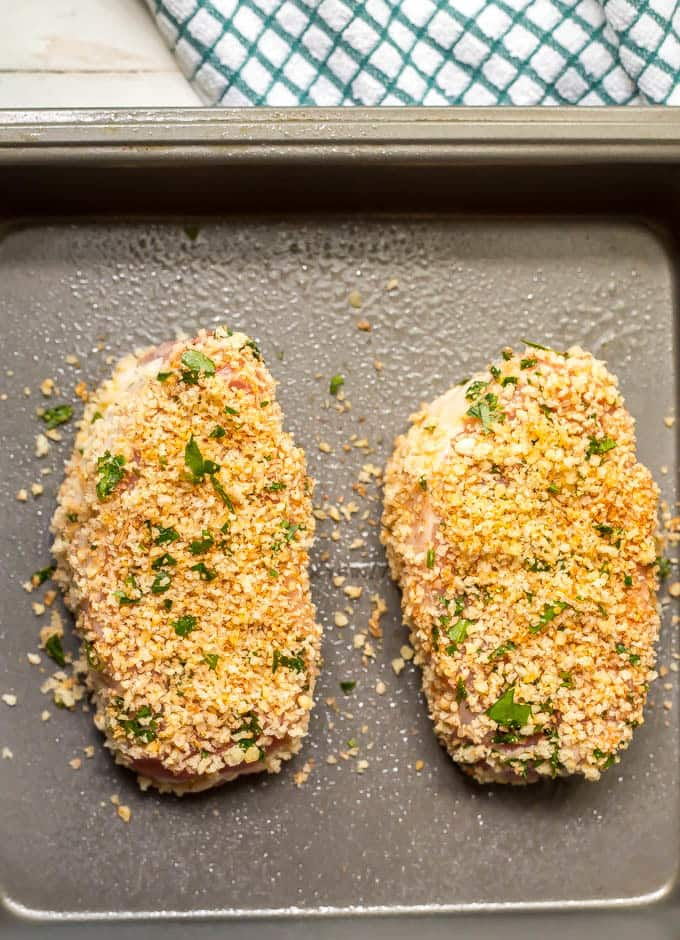 Crunchy baked pork chops before cooking
