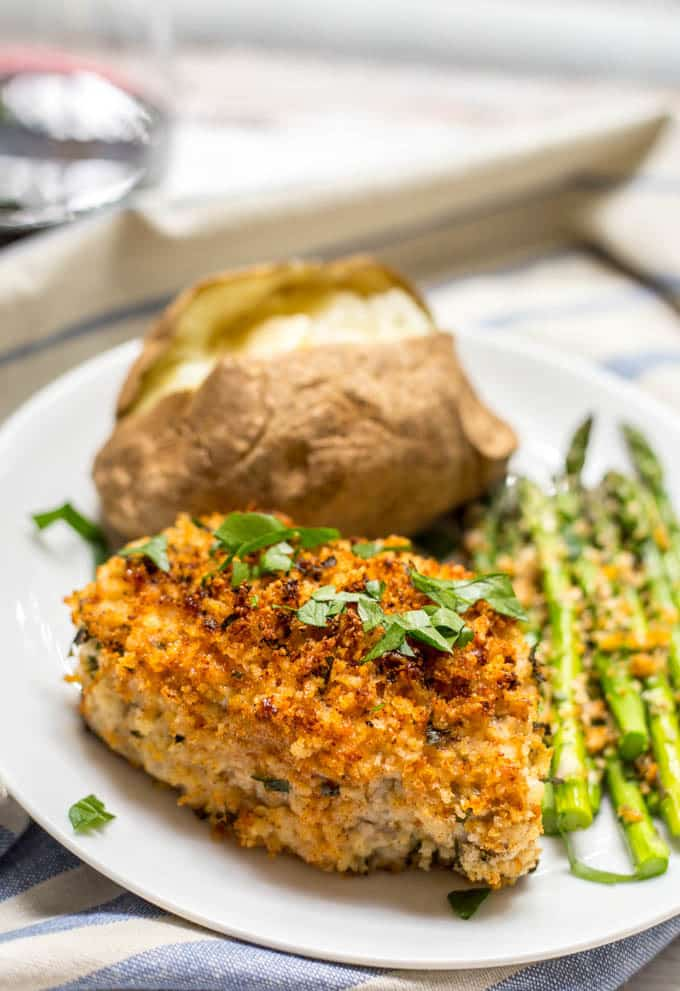 Crunchy baked pork chops dinner on plate