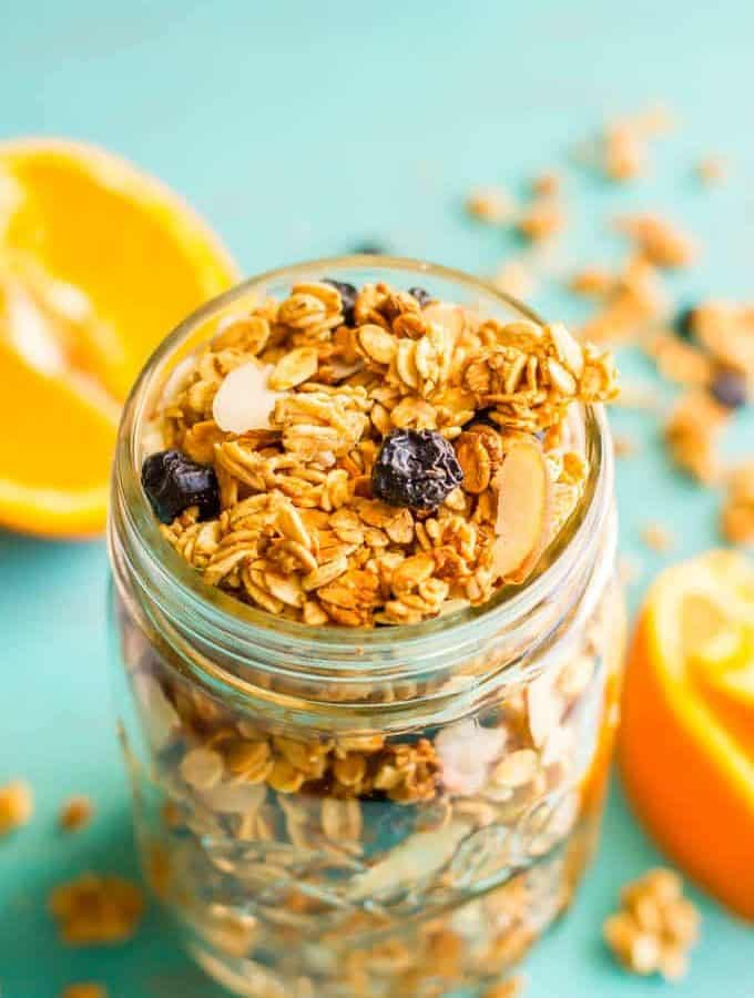 Healthy citrus granola in mason jar