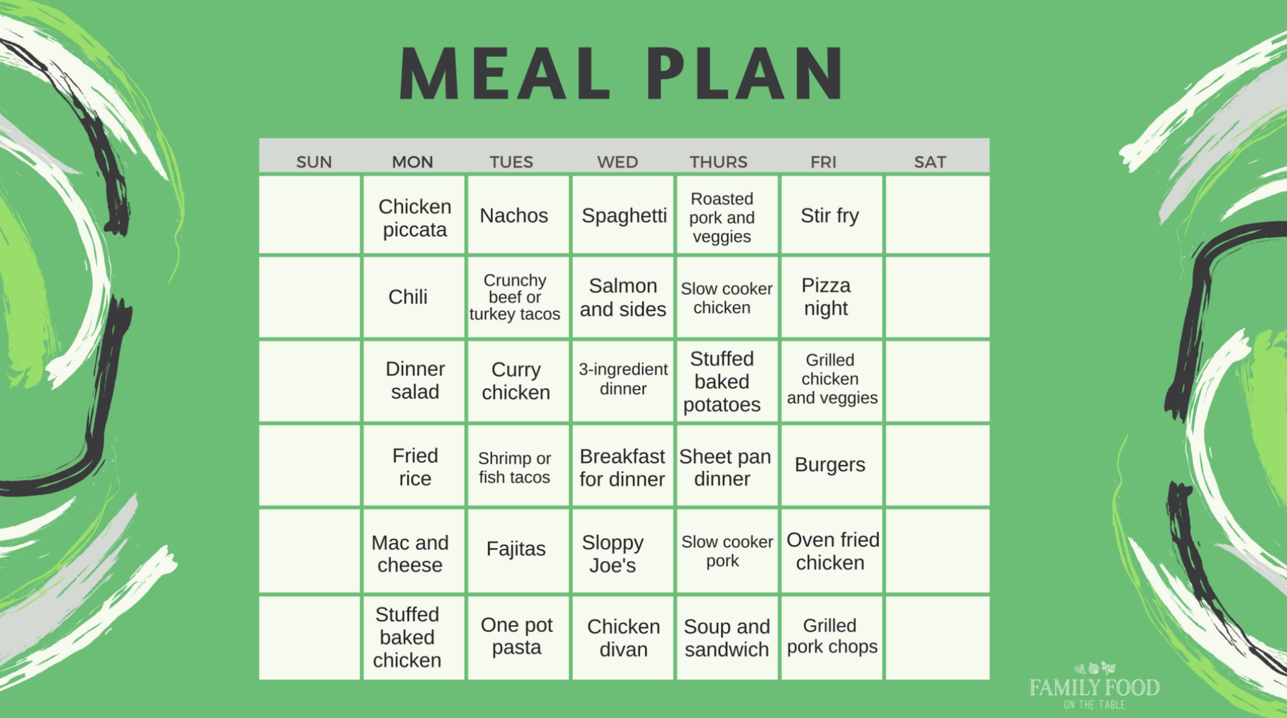 Easy healthy family dinner ideas - free calendar printable