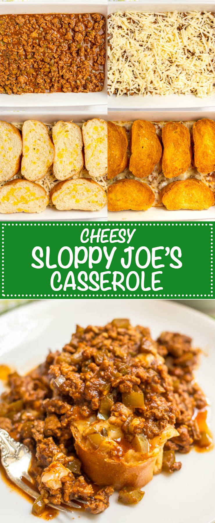 A collage of process photos for making cheesy sloppy Joe's casserole with a text overlay on the collage