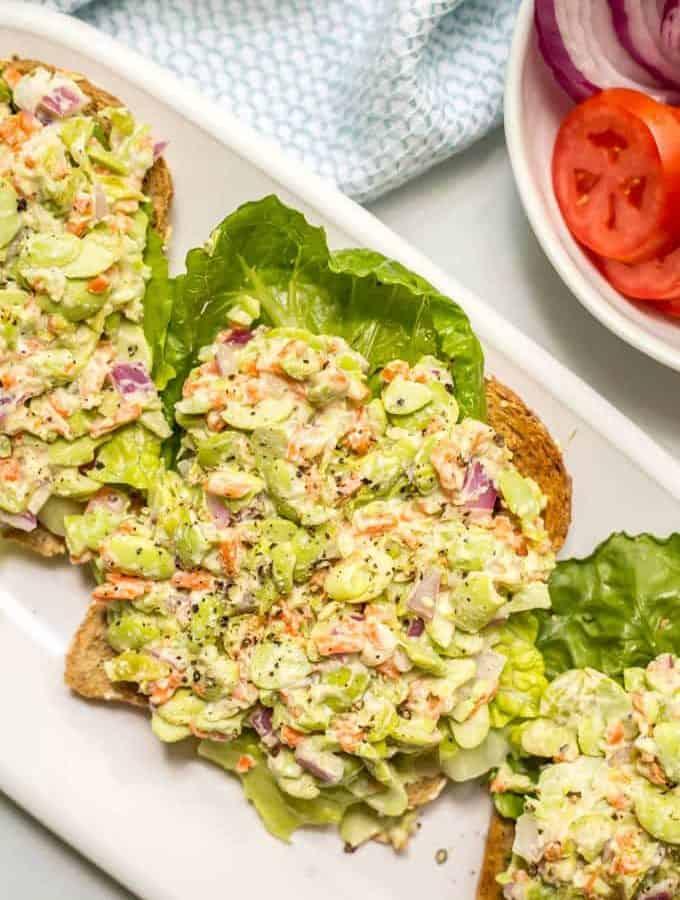 Smashed edamame salad on toast with lettuce