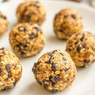 No bake blueberry oatmeal cookie balls are an easy, 5-ingredient healthy snack that are super addictive - and also gluten-free and vegan! | www.familyfoodonthetable.com