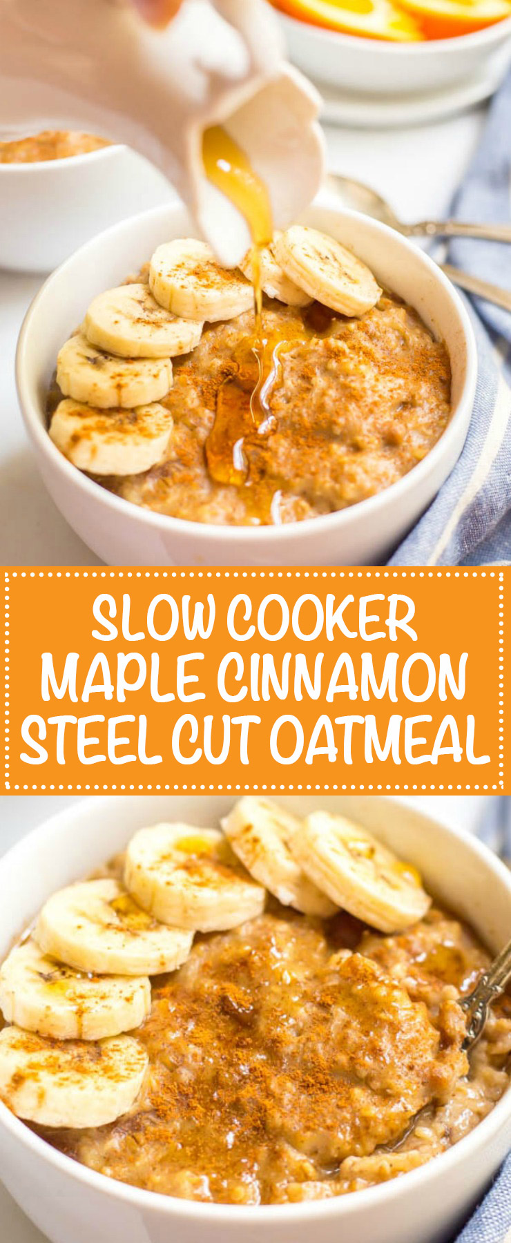 Slow cooker maple cinnamon oatmeal is perfect for busy mornings! Take a few minutes to prep the night before and a creamy, rich, flavorful oatmeal is waiting for you in the morning! | www.familyfoodonthetable.com