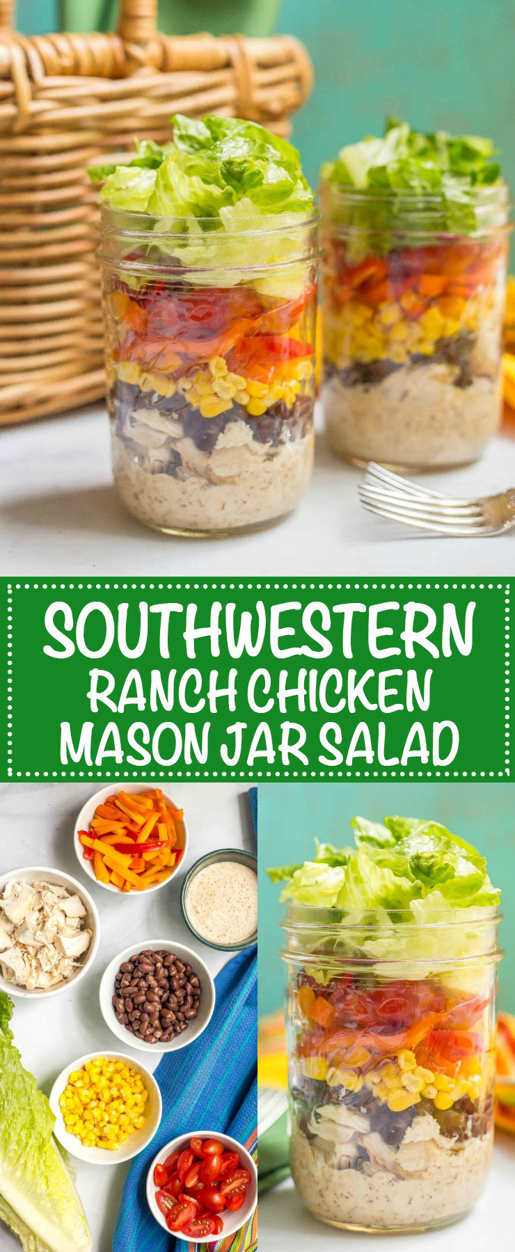 This layered southwestern mason jar salad with chicken, fresh veggies and Ranch dressing is a delicious make-ahead lunch! | www.familyfoodonthetable.com