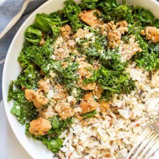 Easy wild rice sausage kale bowl