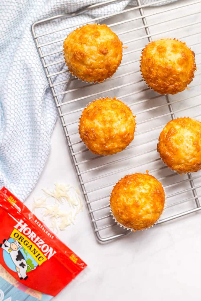 Easy cheesy cornbread muffins cooling on wire rack
