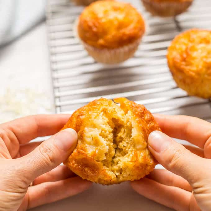 Easy cheesy cornbread muffin being opened