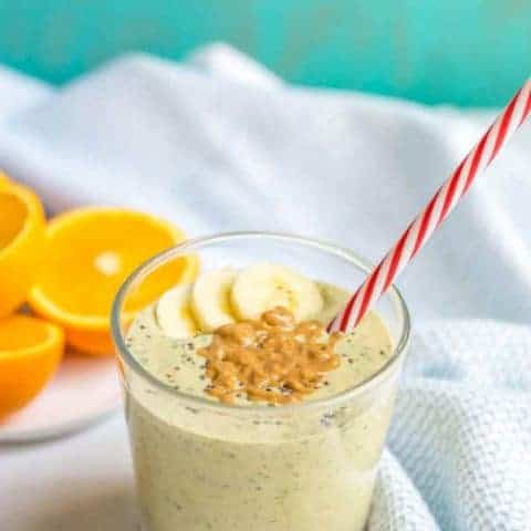 Peanut butter banana smoothie with spinach