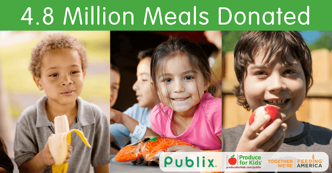 Publix Feeding America Meals Donated campaign graphic with kids eating fruits and vegetables