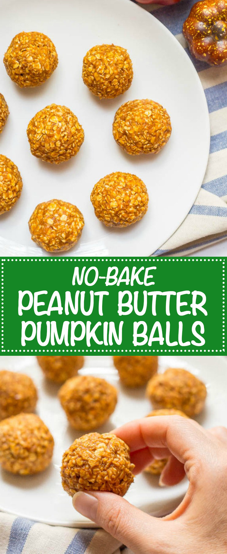 No-bake Peanut Butter Pumpkin Balls are a high-protein fall treat that are quick and easy to make with just 6 wholesome ingredients! Perfect for snacking or after a workout! | www.familyfoodonthetable.com