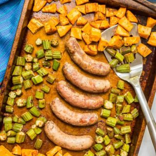 Sheet pan turkey sausages with sweet potatoes and okra