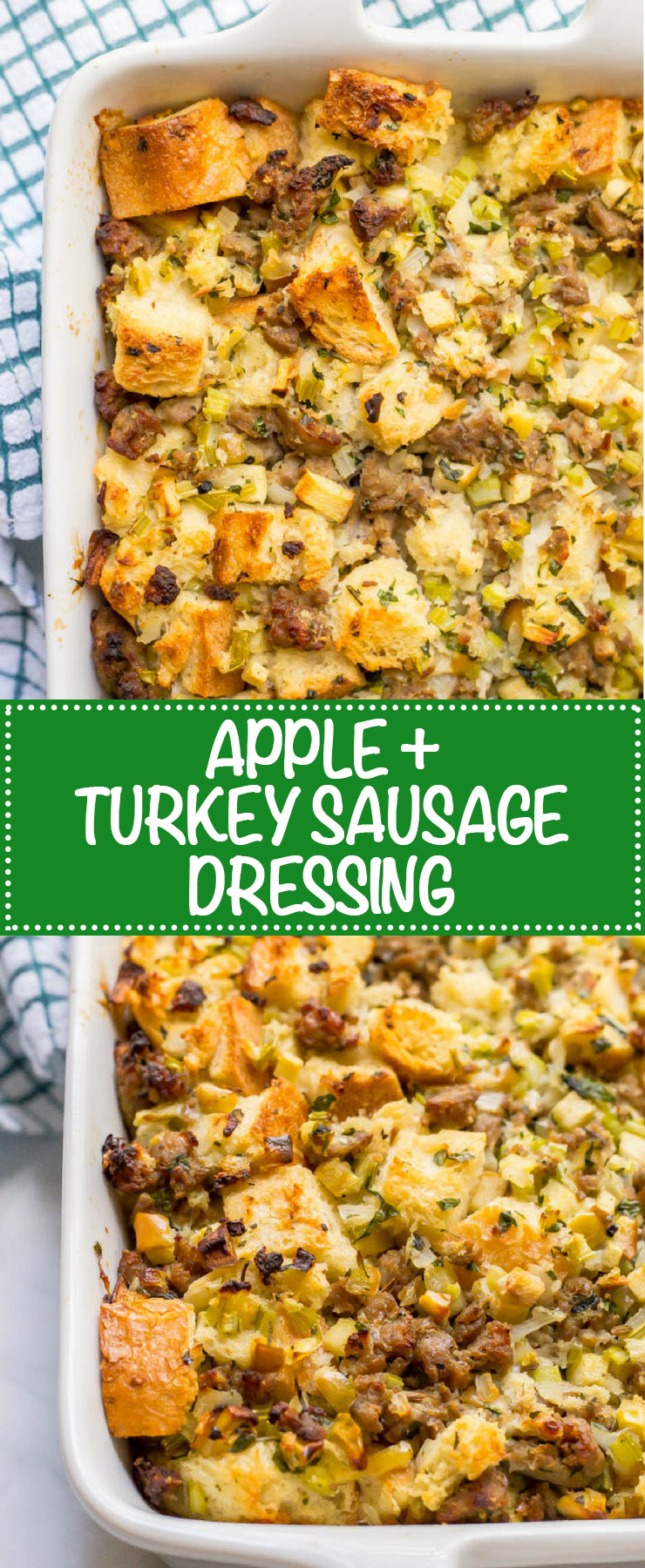 Turkey sausage and apple dressing is an easy, hearty and delicious side dish made with fresh ingredients. It can be prepped ahead and comes out so delicious - perfect for Thanksgiving! #Thanksgiving #Thanksgivingfood #Thanksgivingtable #holidayfood